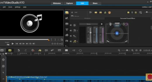 Визуализация звука для сведения звуковых дорожек Corel VideoStudio X10